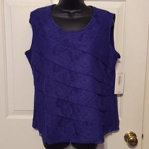 NWT Tanjay Royal Blue layered/lace/lined top